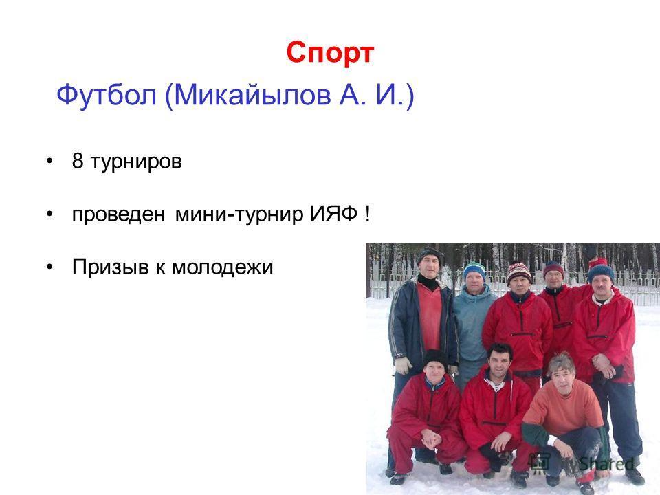 Спорт Футбол (Микайылов А. И.) 8 турниров проведен мини-турнир ИЯФ ! Призыв к молодежи