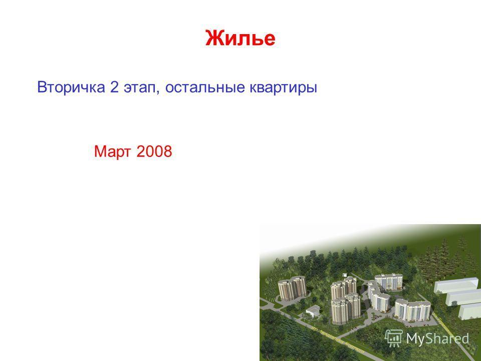 Жилье Вторичка 2 этап, остальные квартиры Март 2008
