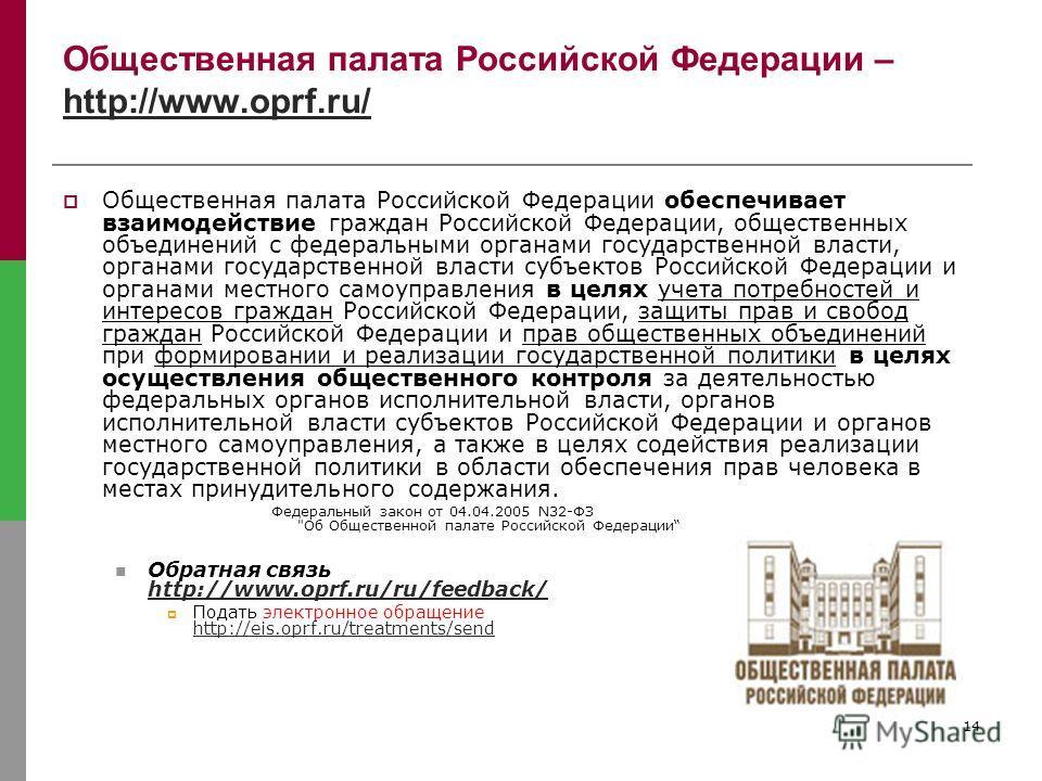 14 Общественная палата Российской Федерации – http://www.oprf.ru/ http://www.oprf.ru/ Общественная палата Российской Федерации обеспечивает взаимодействие граждан Российской Федерации, общественных объединений с федеральными органами государственной