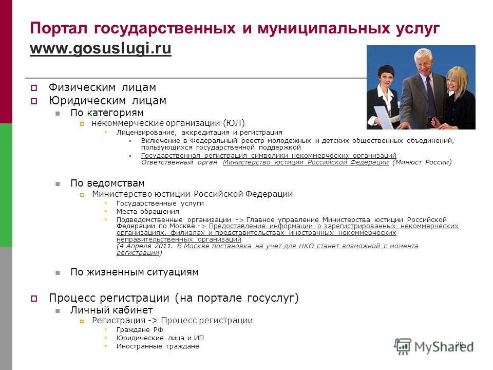 28 Портал государственных и муниципальных услуг www.gosuslugi.ru www.gosuslugi.ru Физическим лицам Юридическим лицам По категориям некоммерческие организации (ЮЛ) Лицензирование, аккредитация и регистрация Включение в Федеральный реестр молодежных и