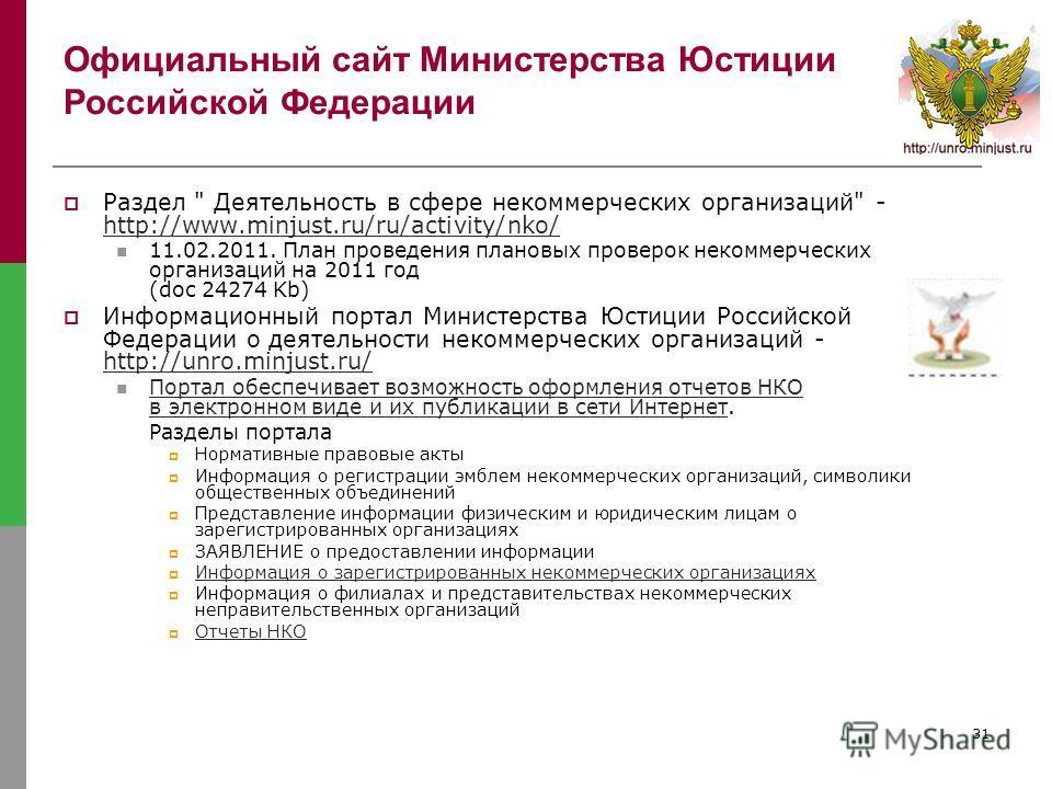 31 Официальный сайт Министерства Юстиции Российской Федерации Раздел