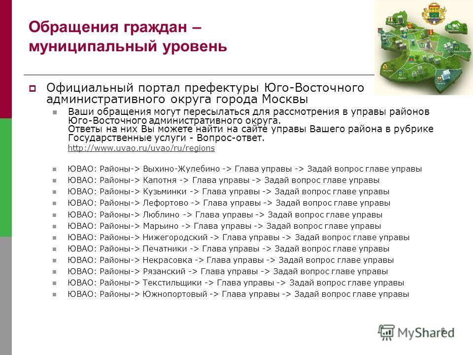 8 Обращения граждан – муниципальный уровень Официальный портал префектуры Юго-Восточного административного округа города Москвы Ваши обращения могут пересылаться для рассмотрения в управы районов Юго-Восточного административного округа. Ответы на них