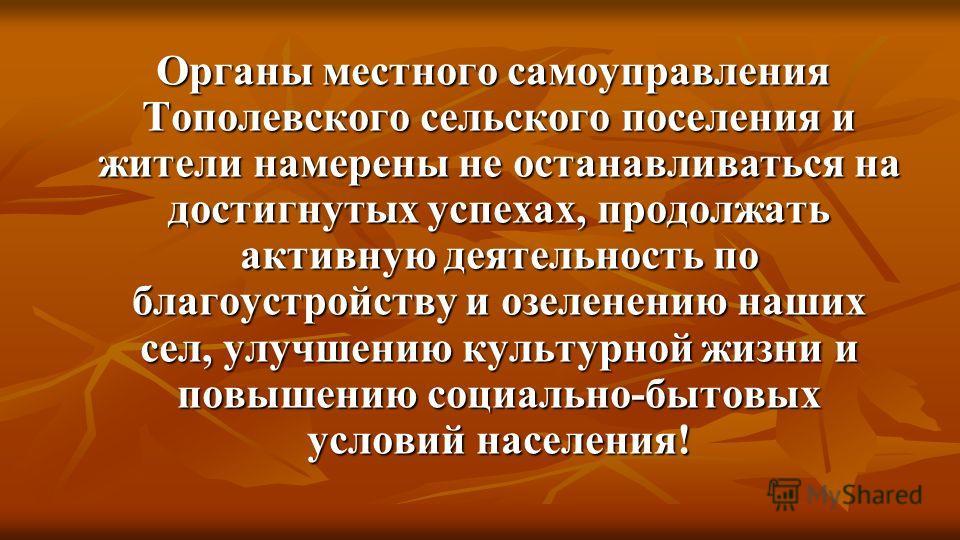Органы местного самоуправления Тополевского сельского поселения и жители намерены не останавливаться на достигнутых успехах, продолжать активную деятельность по благоустройству и озеленению наших сел, улучшению культурной жизни и повышению социально-