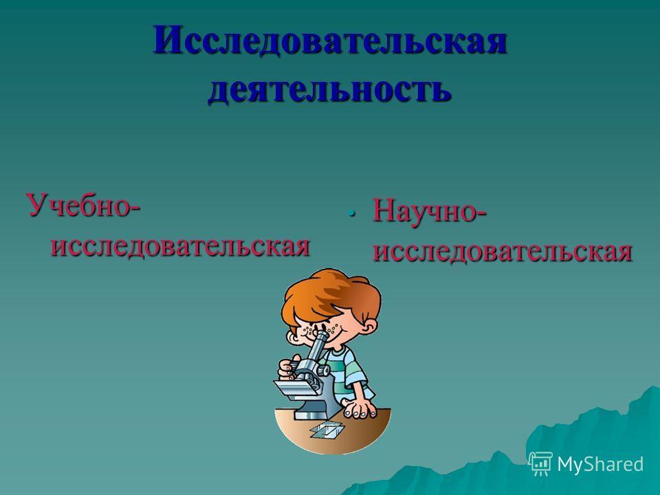Исследовательская деятельность Учебно- исследовательская Научно- исследовательская Научно- исследовательская