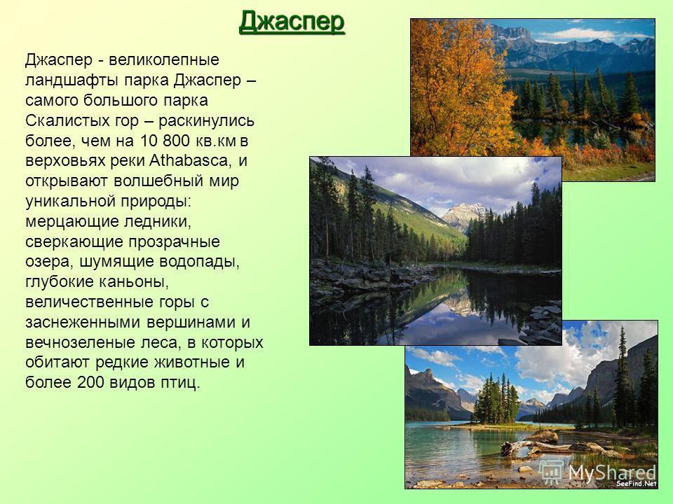 Джаспер - великолепные ландшафты парка Джаспер – самого большого парка Скалистых гор – раскинулись более, чем на 10 800 кв.км в верховьях реки Athabasca, и открывают волшебный мир уникальной природы: мерцающие ледники, сверкающие прозрачные озера, шу