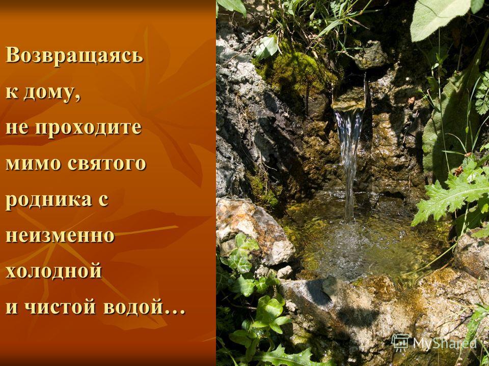 Возвращаясь к дому, не проходите мимо святого родника с неизменно холодной и чистой водой…