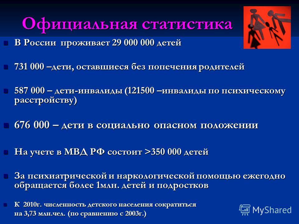 Официальная статистика В России проживает 29 000 000 детей В России проживает 29 000 000 детей 731 000 –дети, оставшиеся без попечения родителей 731 000 –дети, оставшиеся без попечения родителей 587 000 – дети-инвалиды (121500 –инвалиды по психическо