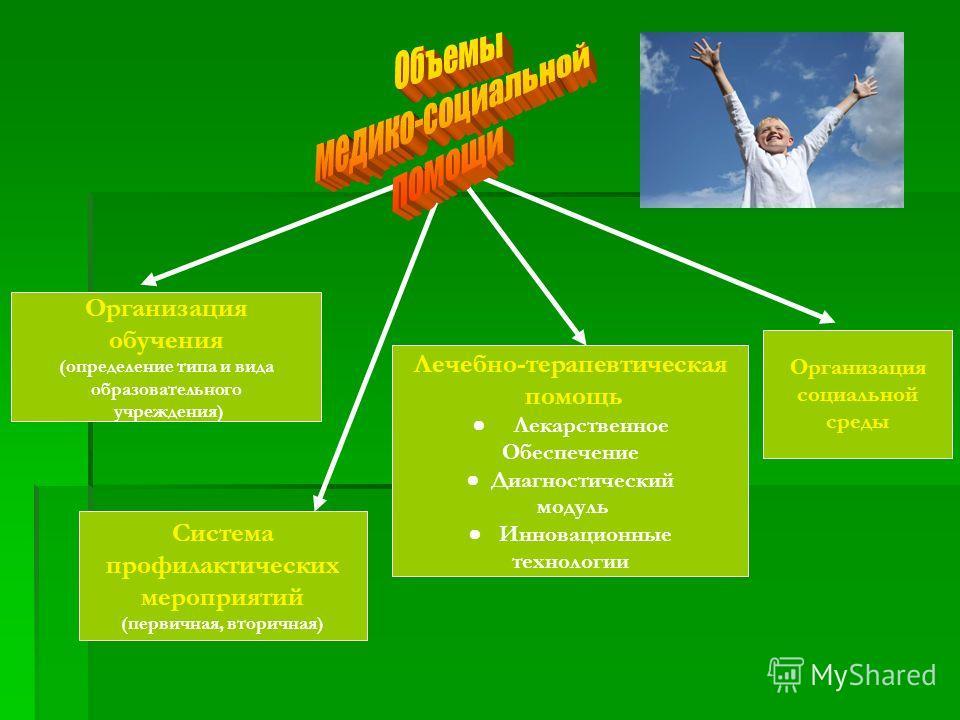 Организация социальной среды Система профилактических мероприятий (первичная, вторичная) Организация обучения (определение типа и вида образовательного учреждения) Лечебно-терапевтическая помощь Лекарственное Обеспечение Диагностический модуль Иннова