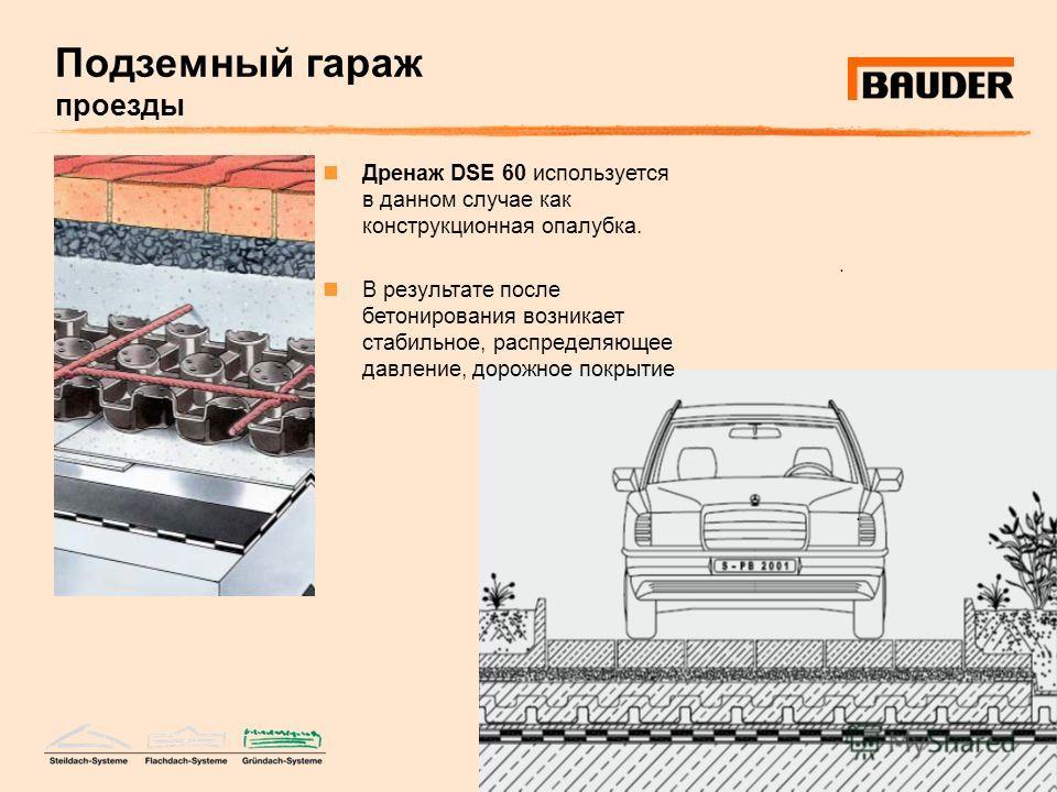 Подземный гараж проезды.. Дренаж DSE 60 используется в данном случае как конструкционная опалубка. В результате после бетонирования возникает стабильное, распределяющее давление, дорожное покрытие