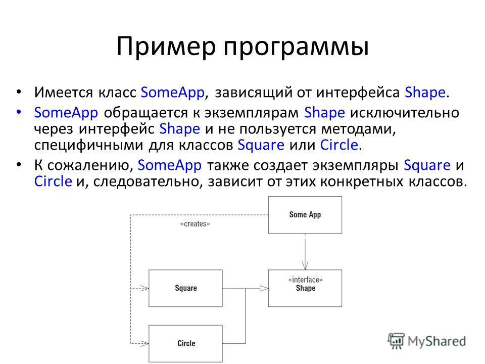 Пример программы Имеется класс SomeApp, зависящий от интерфейса Shape. SomeApp обращается к экземплярам Shape исключительно через интерфейс Shape и не пользуется методами, специфичными для классов Square или Circle. К сожалению, SomeApp также создает