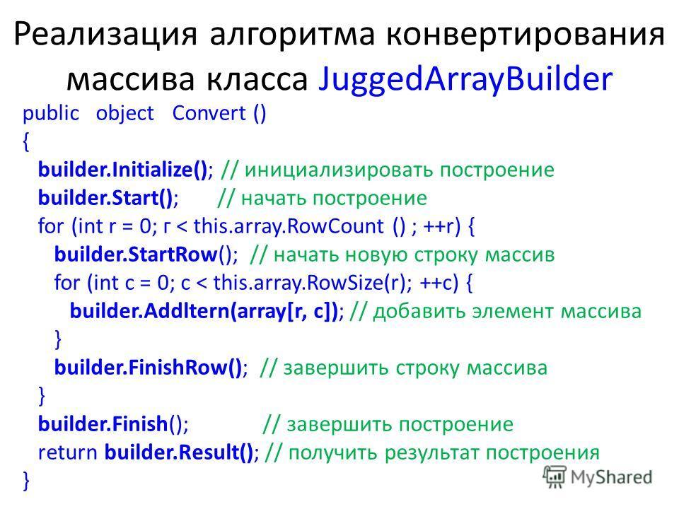Реализация алгоритма конвертирования массива класса JuggedArrayBuilder public object Convert () { builder.Initialize(); // инициализировать построение builder.Start(); // начать построение for (int r = 0; г < this.array.RowCount () ; ++r) { builder.S