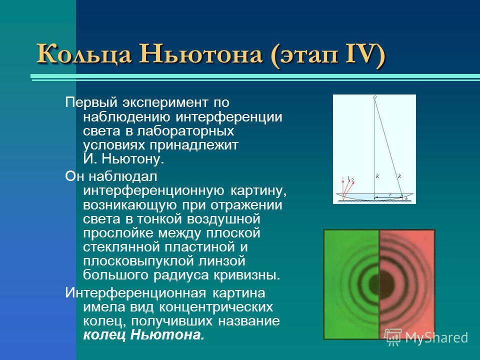 Кольца Ньютона (этап ΙV) Первый эксперимент по наблюдению интерференции света в лабораторных условиях принадлежит И. Ньютону. Он наблюдал интерференционную картину, возникающую при отражении света в тонкой воздушной прослойке между плоской стеклянной