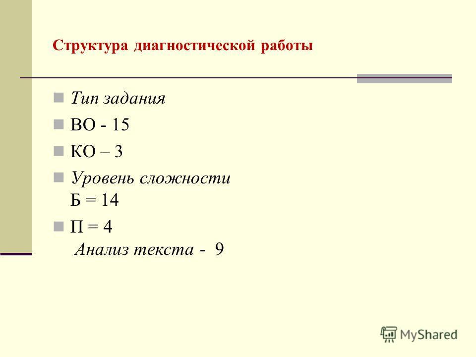 Структура диагностической работы Тип задания ВО - 15 КО – 3 Уровень сложности Б = 14 П = 4 Анализ текста - 9