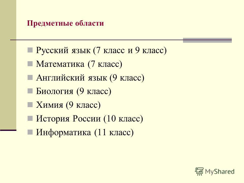 Предметные области Русский язык (7 класс и 9 класс) Математика (7 класс) Английский язык (9 класс) Биология (9 класс) Химия (9 класс) История России (10 класс) Информатика (11 класс)