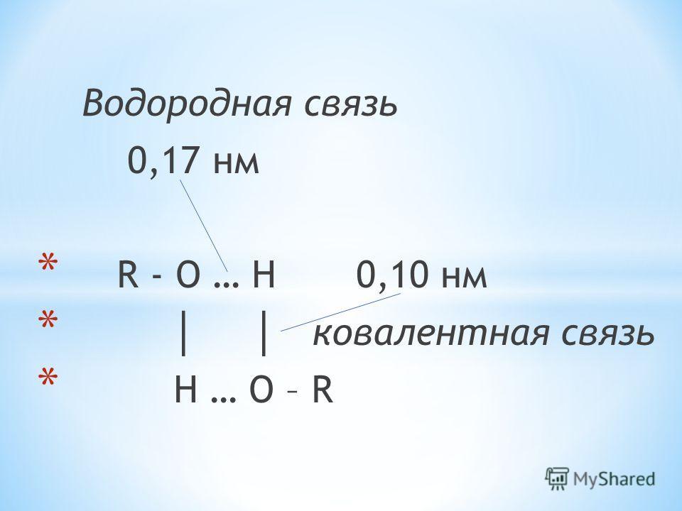 Водородная связь 0,17 нм * R - O … H 0,10 нм * ковалентная связь * H … O – R