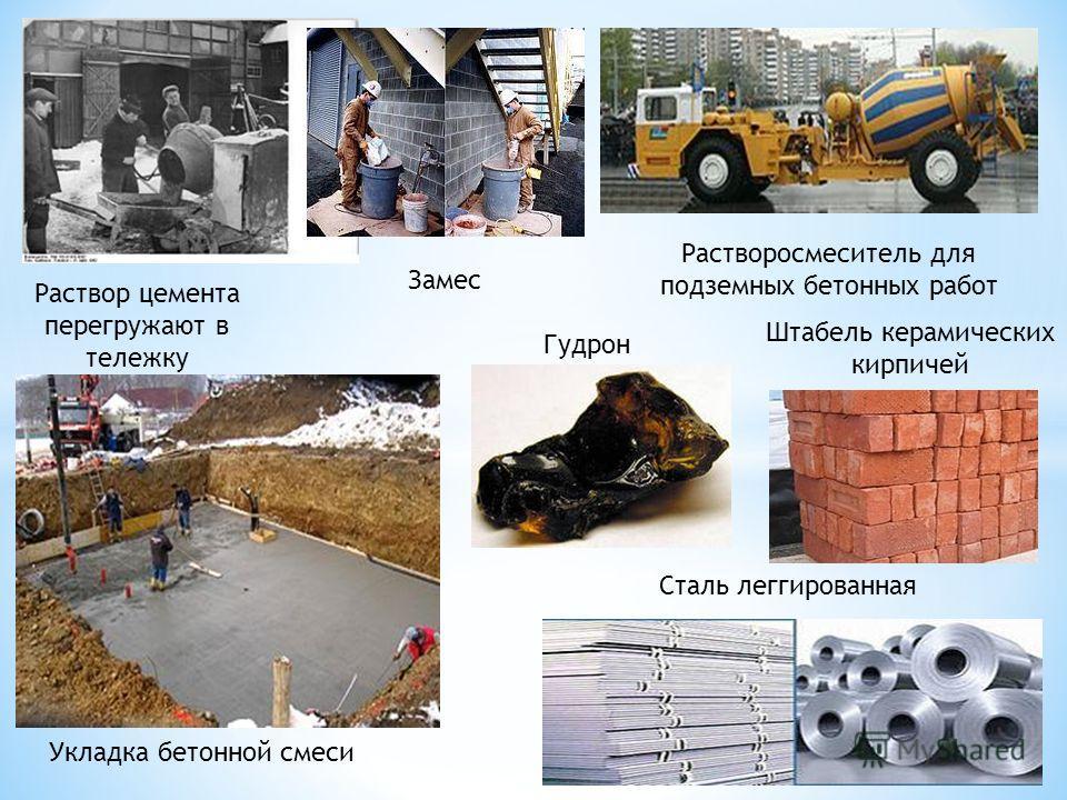 Замес Растворосмеситель для подземных бетонных работ Раствор цемента перегружают в тележку Укладка бетонной смеси Гудрон Штабель керамических кирпичей Сталь леггированная