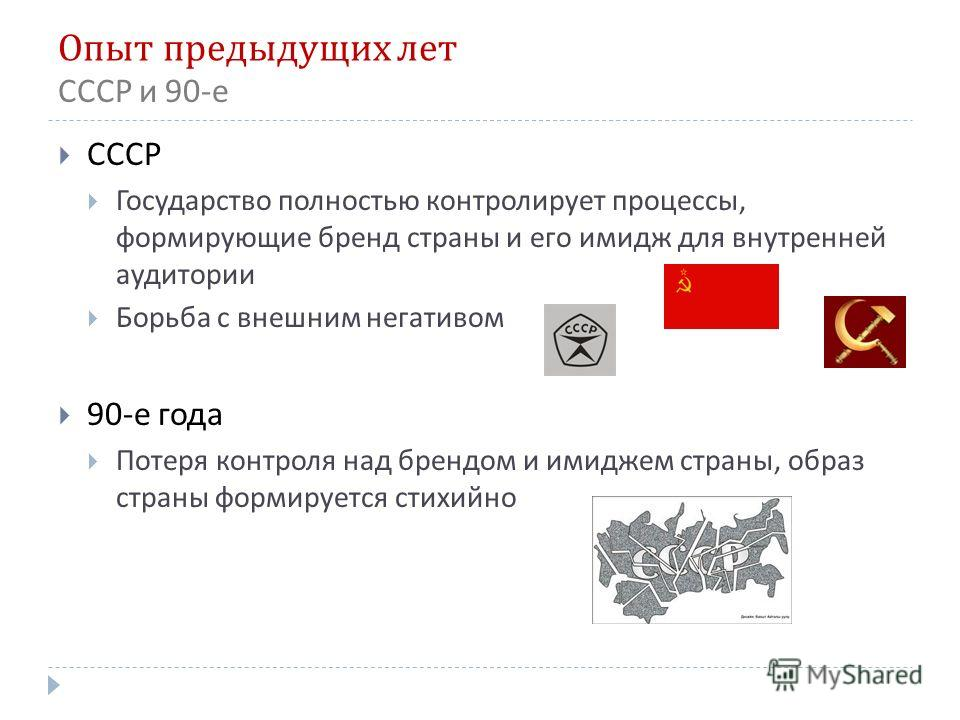 Опыт предыдущих лет СССР Государство полностью контролирует процессы, формирующие бренд страны и его имидж для внутренней аудитории Борьба с внешним негативом 90- е года Потеря контроля над брендом и имиджем страны, образ страны формируется стихийно