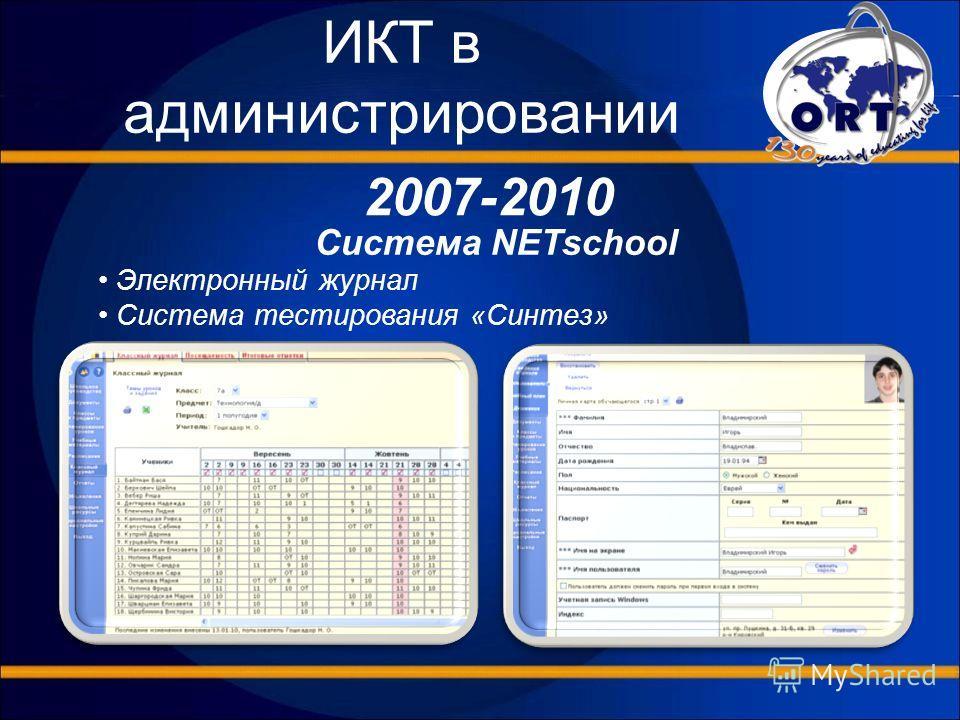 ИКТ в администрировании 2007-2010 Система NETschool Электронный журнал Система тестирования «Синтез»