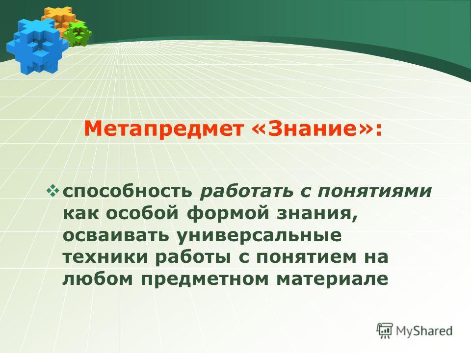 Метапредмет «Знание»: способность работать с понятиями как особой формой знания, осваивать универсальные техники работы с понятием на любом предметном материале