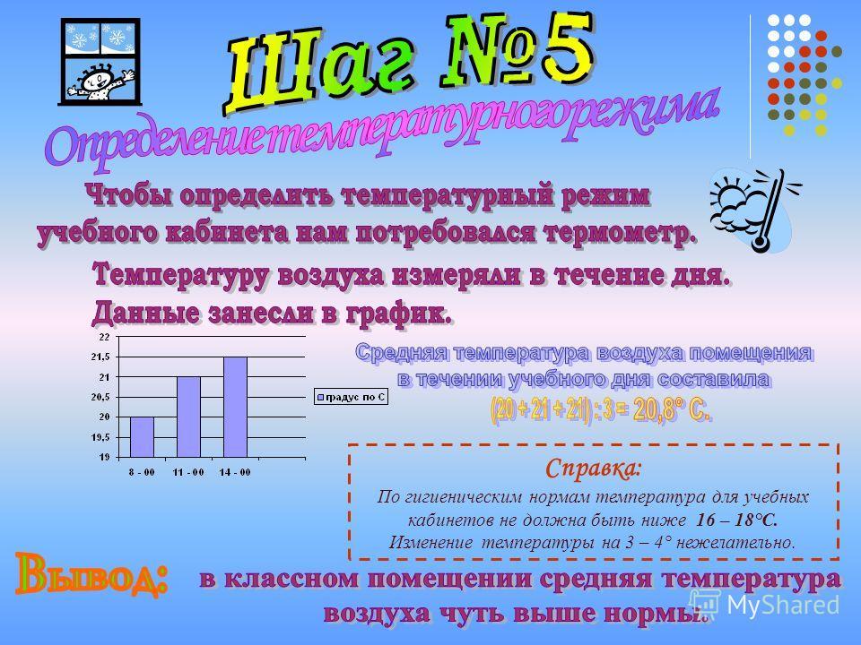 Справка: По гигиеническим нормам температура для учебных кабинетов не должна быть ниже 16 – 18°С. Изменение температуры на 3 – 4° нежелательно.