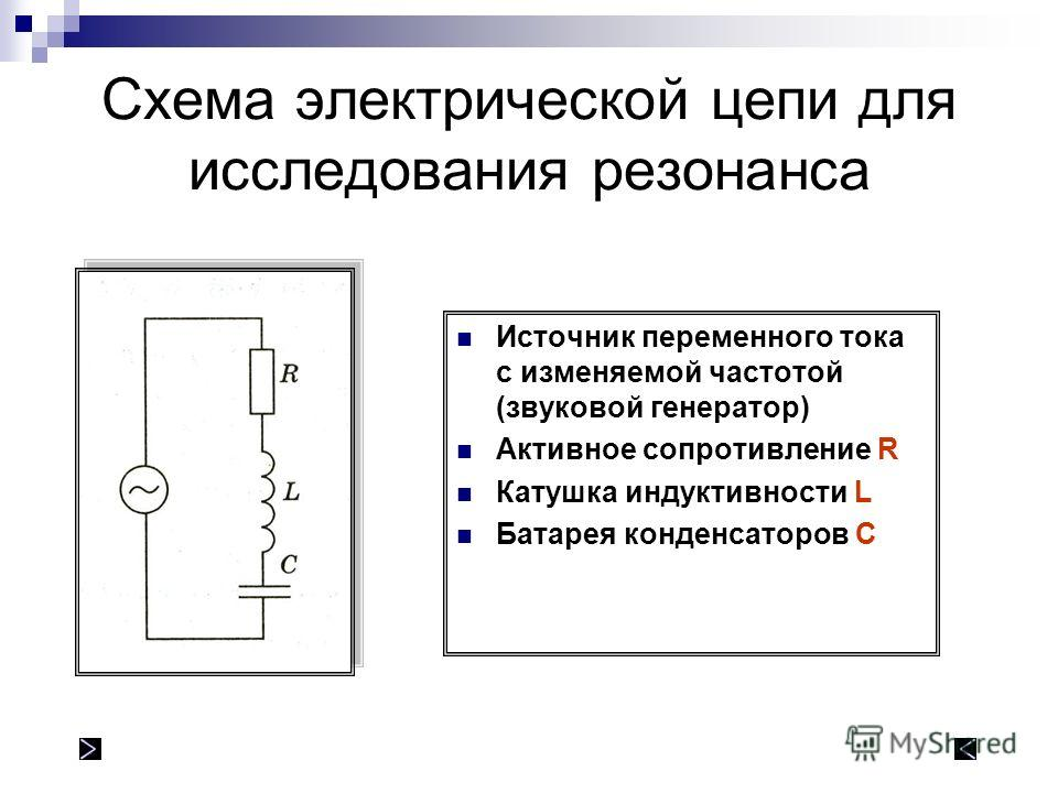 Схема электрической цепи для исследования резонанса Источник переменного тока с изменяемой частотой (звуковой генератор) Активное сопротивление R Катушка индуктивности L Батарея конденсаторов C