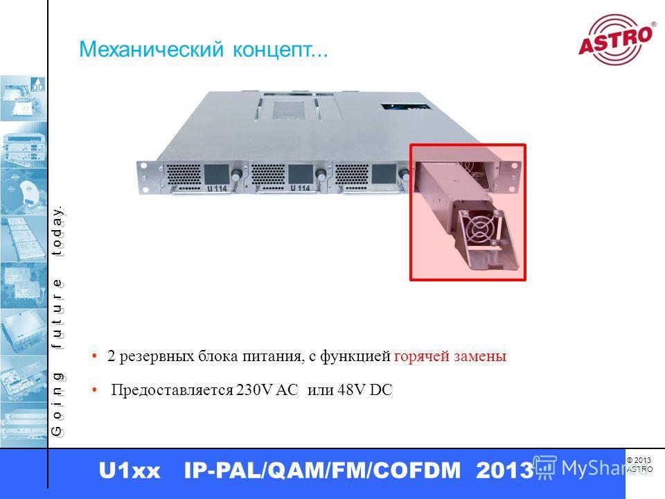 G o i n g f u t u r e t o d a y. © 2013 ASTRO U1xx IP-PAL/QAM/FM/COFDM 2013 2 резервных блока питания, с функцией горячей замены Механический концепт... Предоставляется 230V AC или 48V DC