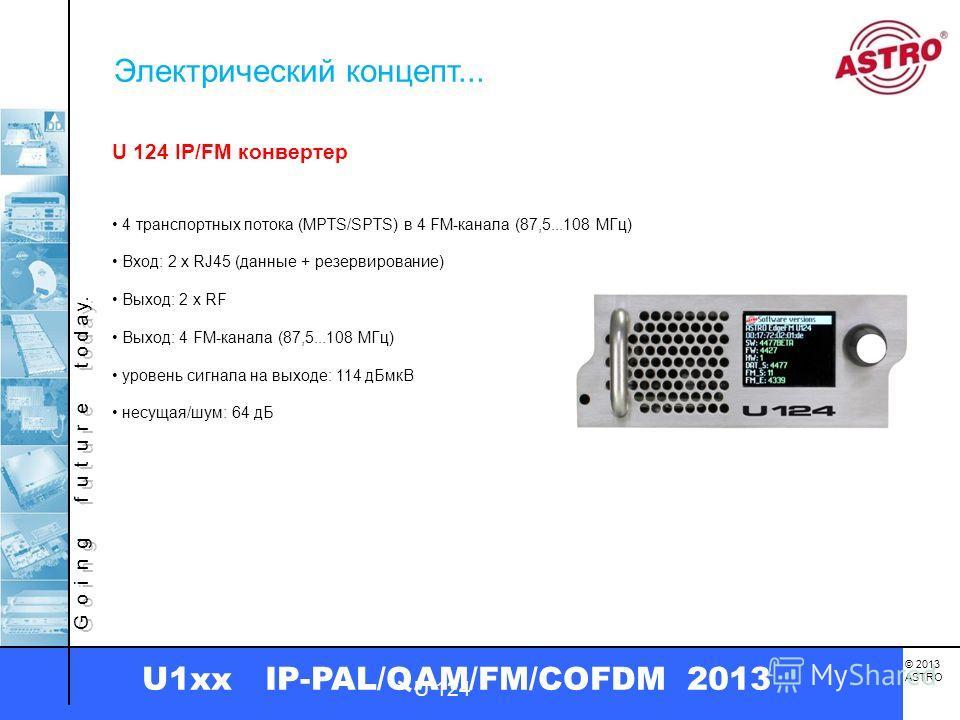 G o i n g f u t u r e t o d a y. © 2013 ASTRO U1xx IP-PAL/QAM/FM/COFDM 2013 U 124 IP/FM конвертер Выход: 4 FM-канала (87,5...108 МГц) несущая/шум: 64 дБ уровень сигнала на выходе: 114 дБмкВ U 124 4 транспортных потока (MPTS/SPTS) в 4 FM-канала (87,5.