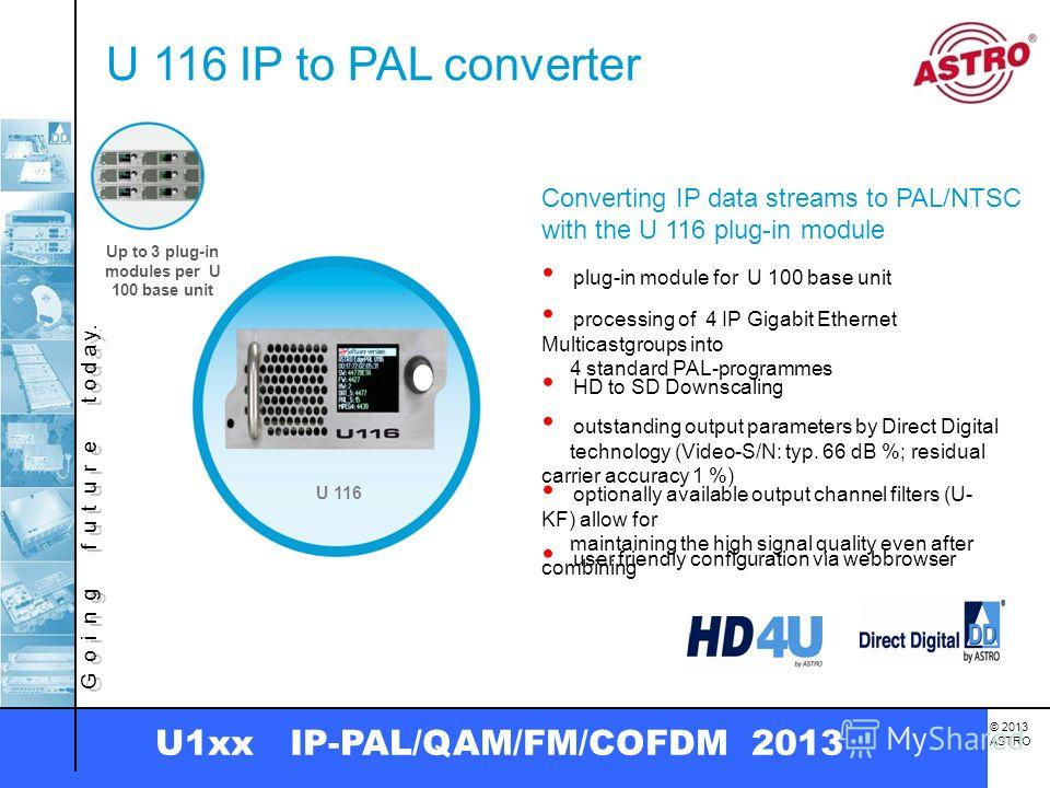 G o i n g f u t u r e t o d a y. © 2013 ASTRO U1xx IP-PAL/QAM/FM/COFDM 2013 U 116 IP to PAL converter Converting IP data streams to PAL/NTSC with the U 116 plug-in module plug-in module for U 100 base unit HD to SD Downscaling user friendly configura