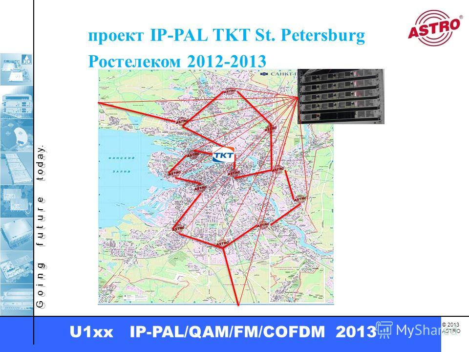 G o i n g f u t u r e t o d a y. © 2013 ASTRO U1xx IP-PAL/QAM/FM/COFDM 2013 проект IP-PAL TKT St. Petersburg Ростелеком 2012-2013