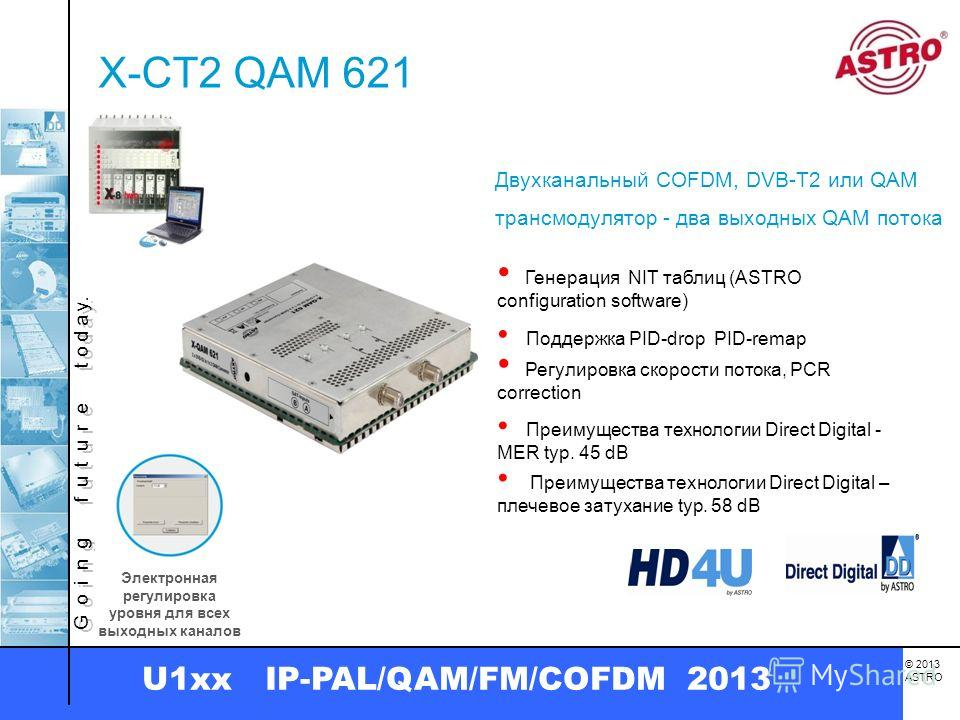 G o i n g f u t u r e t o d a y. © 2013 ASTRO U1xx IP-PAL/QAM/FM/COFDM 2013 X-CT2 QAM 621 Двухканальный COFDM, DVB-T2 или QAM трансмодулятор - два выходных QAM потока Генерация NIT таблиц (ASTRO configuration software) Поддержка PID-drop PID-remap Пр