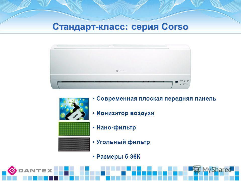 Современная плоская передняя панель Ионизатор воздуха Нано-фильтр Угольный фильтр Размеры 5-36К Стандарт-класс: серия Corso