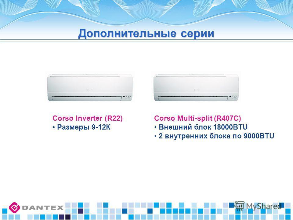 Corso Inverter (R22) Размеры 9-12К Corso Multi-split (R407C) Внешний блок 18000BTU 2 внутренних блока по 9000BTU Дополнительные серии