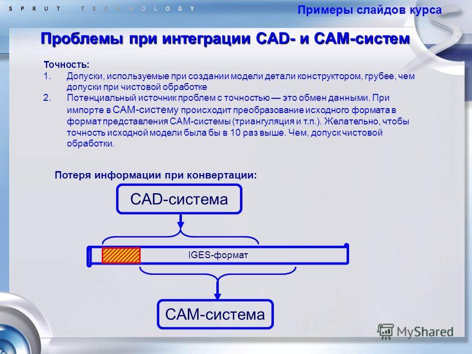 Точность: 1.Допуски, используемые при создании модели детали конструктором, грубее, чем допуски при чистовой обработке 2.Потенциальный источник проблем с точностью это обмен данными. При импорте в САМ-систему происходит преобразование исходного форма
