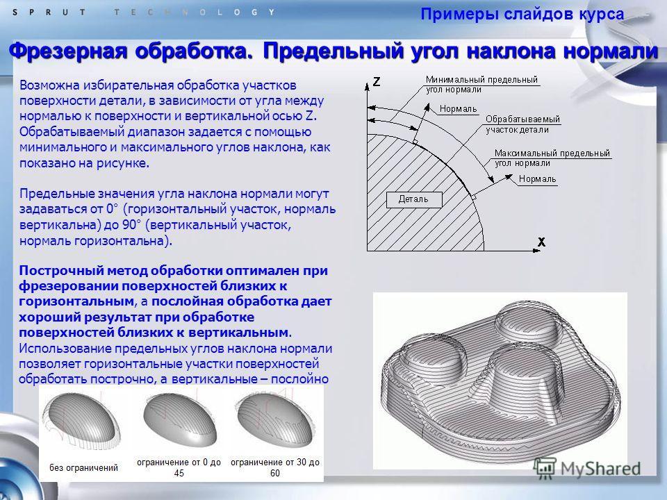 Фрезерная обработка. Предельный угол наклона нормали Возможна избирательная обработка участков поверхности детали, в зависимости от угла между нормалью к поверхности и вертикальной осью Z. Обрабатываемый диапазон задается с помощью минимального и мак