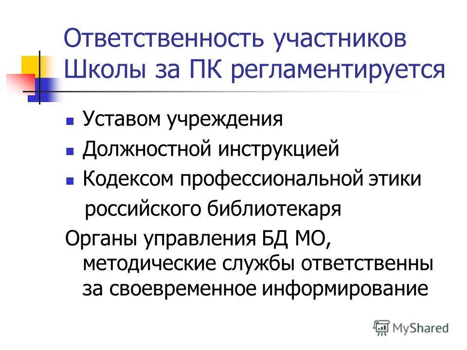 Ответственность участников Школы за ПК регламентируется Уставом учреждения Должностной инструкцией Кодексом профессиональной этики российского библиотекаря Органы управления БД МО, методические службы ответственны за своевременное информирование