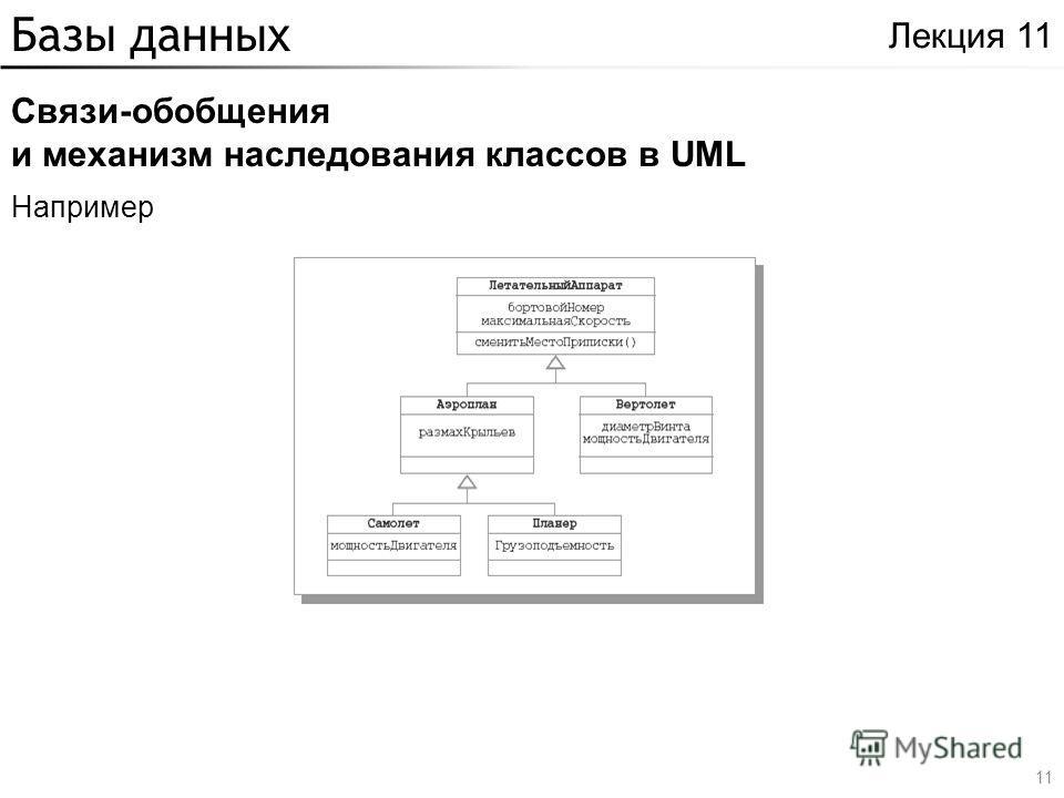 Базы данных Связи-обобщения и механизм наследования классов в UML Лекция 11 Например 11