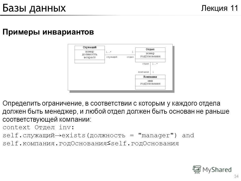 Базы данных Примеры инвариантов Лекция 11 Определить ограничение, в соответствии с которым у каждого отдела должен быть менеджер, и любой отдел должен быть основан не раньше соответствующей компании: context Отдел inv: self.служащий exists(должность