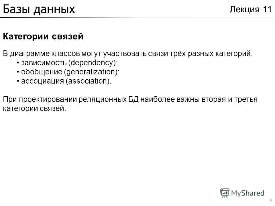 Базы данных Категории связей Лекция 11 В диаграмме классов могут участвовать связи трёх разных категорий: зависимость (dependency); обобщение (generalization): ассоциация (association). При проектировании реляционных БД наиболее важны вторая и третья