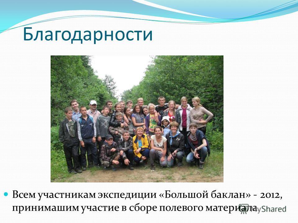 Благодарности Всем участникам экспедиции «Большой баклан» - 2012, принимашим участие в сборе полевого материала