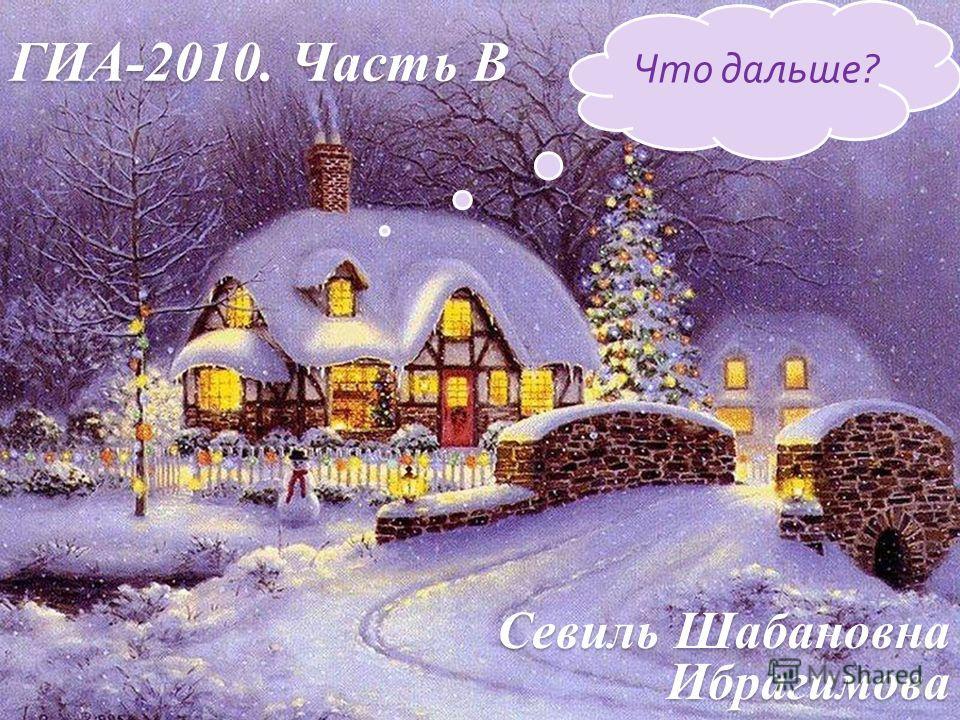 ГИА-2010. Часть В Севиль Шабановна Ибрагимова Что дальше?
