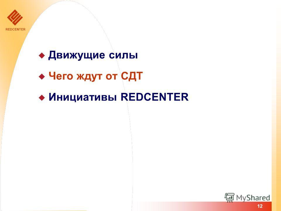 REDCENTER 12 Движущие силы Чего ждут от СДТ Инициативы REDCENTER