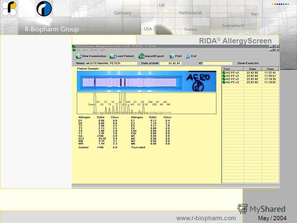 17 www.r-biopharm.com RIDA ® AllergyScreen May / 2004