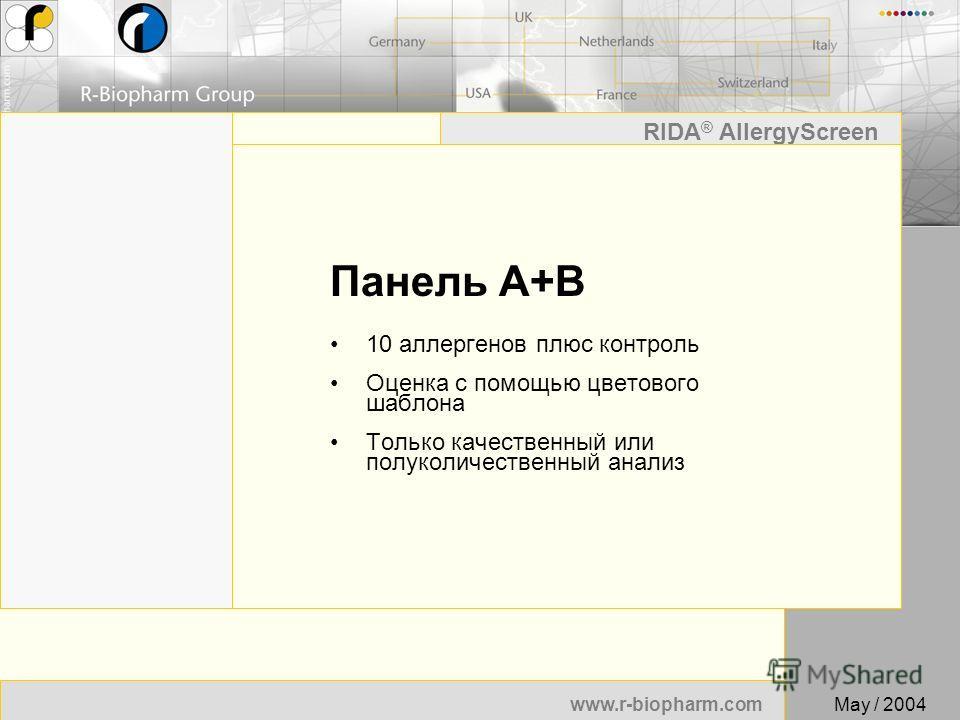 21 www.r-biopharm.com RIDA ® AllergyScreen May / 2004 Панель A+B 10 аллергенов плюс контроль Оценка с помощью цветового шаблона Только качественный или полуколичественный анализ