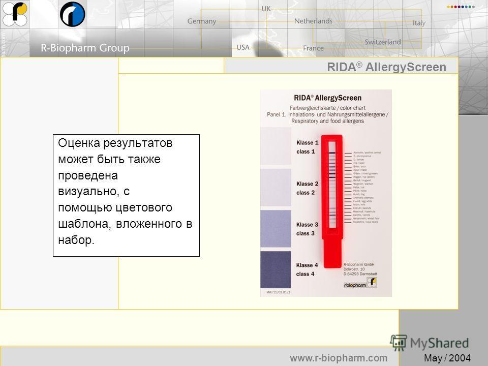 51 www.r-biopharm.com RIDA ® AllergyScreen May / 2004 Оценка результатов может быть также проведена визуально, с помощью цветового шаблона, вложенного в набор.