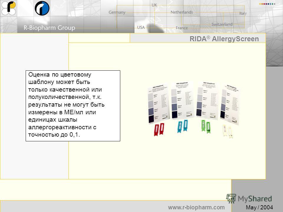 52 www.r-biopharm.com RIDA ® AllergyScreen May / 2004 Оценка по цветовому шаблону может быть только качественной или полуколичественной, т.к. результаты не могут быть измерены в МЕ/мл или единицах шкалы аллергореактивности с точностью до 0,1.