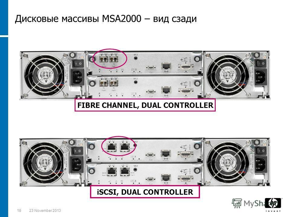 1823 November 2013 FIBRE CHANNEL, DUAL CONTROLLER iSCSI, DUAL CONTROLLER Дисковые массивы MSA2000 – вид сзади