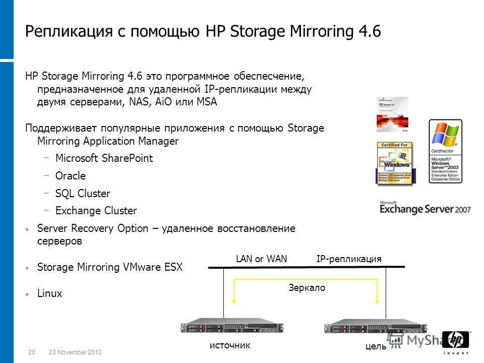 2023 November 2013 HP Storage Mirroring 4.6 это программное обеспесчение, предназначенное для удаленной IP-репликации между двумя серверами, NAS, AiO или MSA Поддерживает популярные приложения с помощью Storage Mirroring Application Manager Microsoft