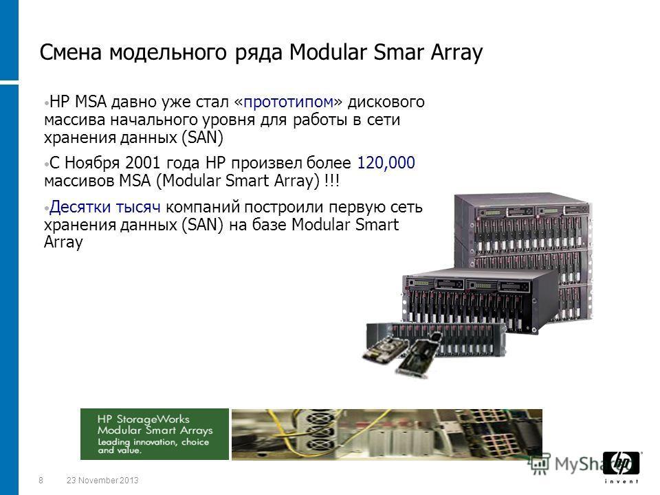 823 November 2013 HP MSA давно уже стал «прототипом» дискового массива начального уровня для работы в сети хранения данных (SAN) С Ноября 2001 года HP произвел более 120,000 массивов MSA (Modular Smart Array) !!! Десятки тысяч компаний построили перв