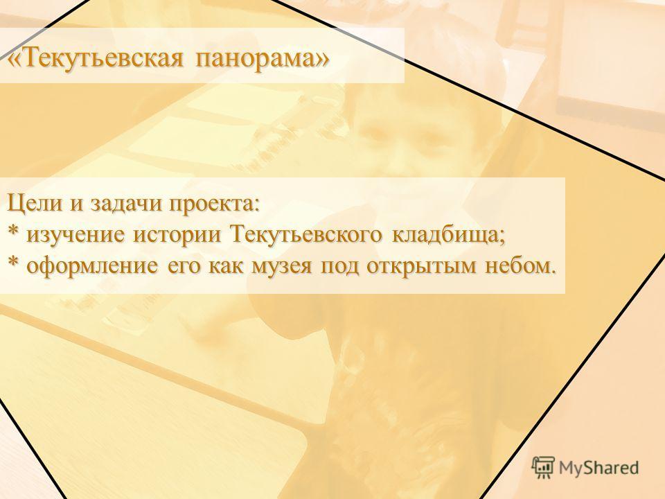 «Текутьевская панорама» Цели и задачи проекта: * изучение истории Текутьевского кладбища; * оформление его как музея под открытым небом.