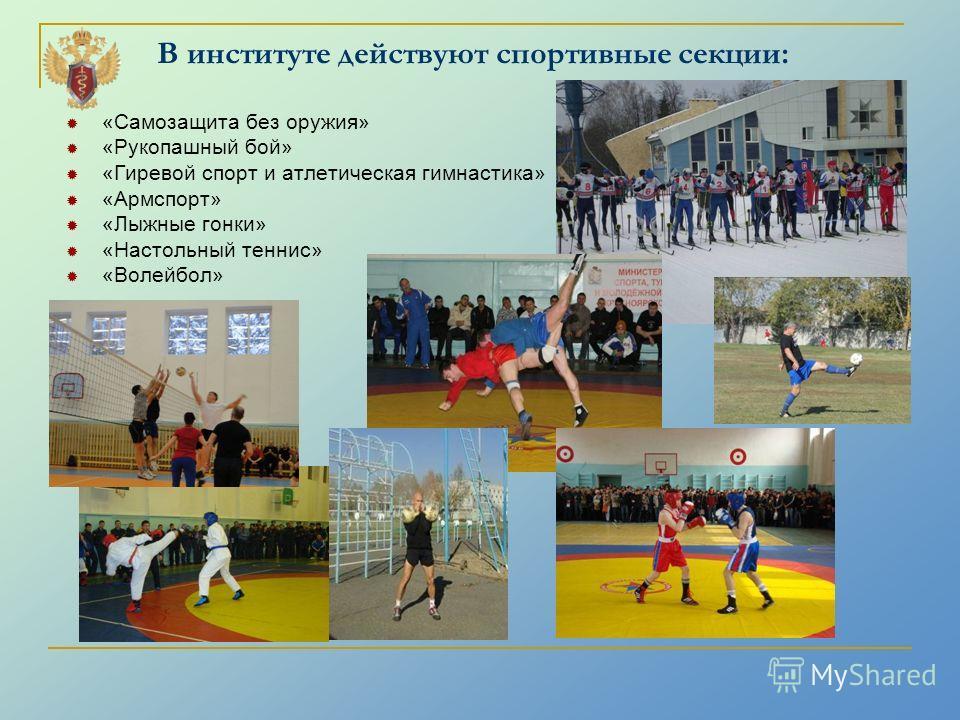 В институте действуют спортивные секции: «Самозащита без оружия» «Рукопашный бой» «Гиревой спорт и атлетическая гимнастика» «Армспорт» «Лыжные гонки» «Настольный теннис» «Волейбол»